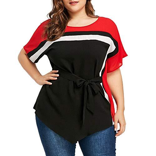 Batwing Belt (Fitfulvan Womens Plus Size Tops Fashion Batwing Sleeve Tie Belt Asymmetric T-Shirt Blouse (Black,Asian XL = US L))