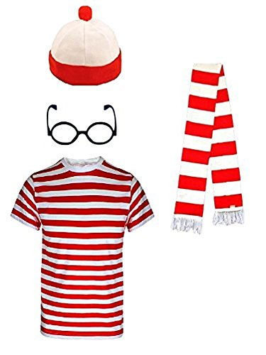 [Kids Girls Boys Wheres the Nerd Red and White Striped Geek World Book Day 4 Piece Costume] (Wheres Wally Fancy Dress Kids)