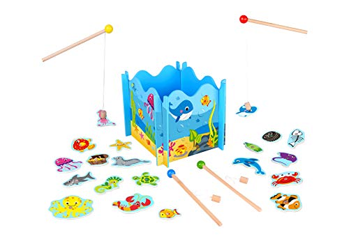 (Toysters Wooden Fishing Toy Game for Toddlers | Fun Puzzle Board for Kids | Interactive Activity Games Keeps Children Entertained for Hours | Includes Magnetic Fishing Pole Rods and Cute)