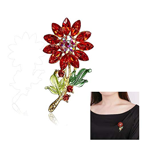 Colourful RhineStone Plant Flowers BroochPin,Gold-plated Sunflower Cartoon Plant Crystal Brooch for Women Girls Wedding Gifts (Red) (Brooch Sunflower Crystal)