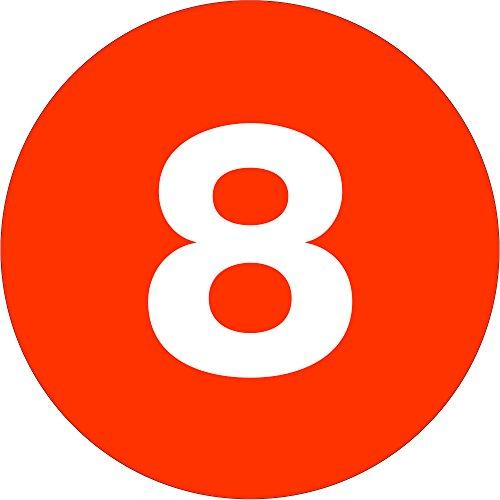 Tape Logic TLDL6758 Number Labels 8'', 1'' Circle, Fluorescent Orange, 1 Roll of 500 Labels by Tape Logic