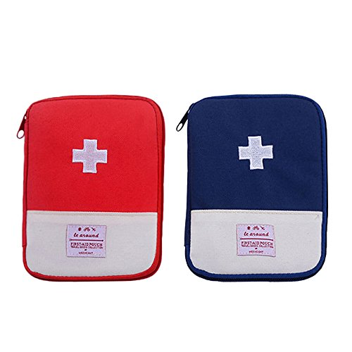 Price comparison product image Zhenxinmei 2 Pack Portable Mini First Aid Pouch Camping Medical First Aid Utility Pouch Travel First Aid Kit Outdoor Emergency Response Trauma Bag Household Medicine Bag Multifunction Storage Bag
