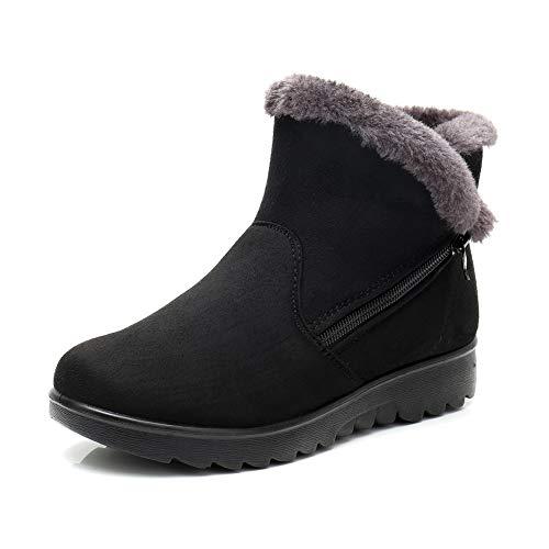 De Planos Botines Calientes Zapatos 41 Nieve Cremallera Impermeable Tobillo Botas Fur Mujer Casual Rojo 35 Negro Invierno Zapatillas Marrón w1RxYwqnWd