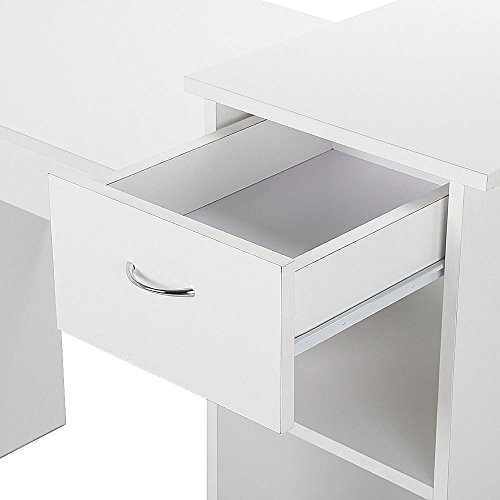 topeakmart small white computer desk with drawers and printer import it all. Black Bedroom Furniture Sets. Home Design Ideas