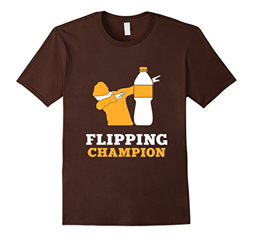 Men's FUNNY BOTTLE FLIPPING CHAMPION T-SHIRT Dabbing Gift Small Brown (The Today Show Halloween Costumes)