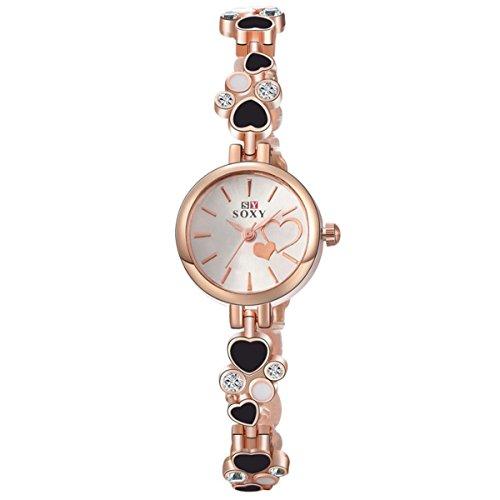 Fashion Women Quartz Watch Alloy Strap Luxury Rhinestone Heart-Shaped Bracelet Watch Ladies Dress Wristwatch, - Heart Of Pictures Faces Shaped