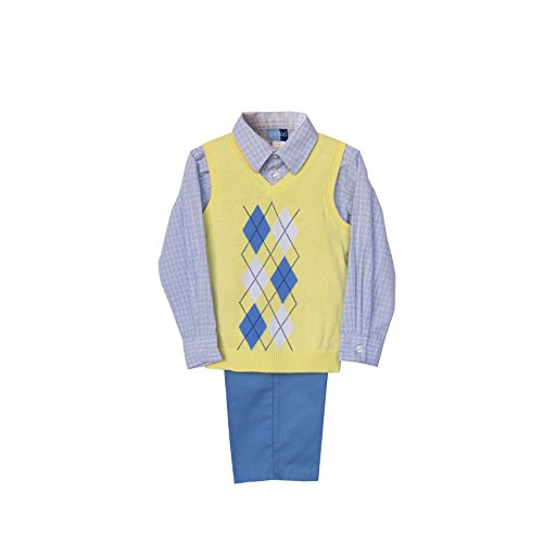 Good Lad Toddler Boy 3 Piece Yellow Argyle Sweater Vest Set (4T)