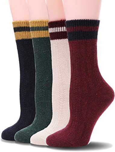 Womens Wool Socks Warm Knit Comfort Cotton Work Duty Boot Winter Socks For Cold Weather 4 Pack (Solid Color E-4 Pairs)