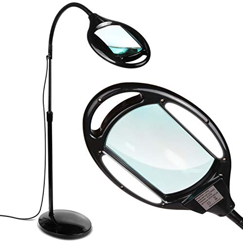 Brightech LightView Pro LED Magnifying Floor Lamp - Daylight Bright Full Spectrum Magnifier Lighted Glass Lens - Height Adjustable Gooseneck Standing Light - for Reading Task Craft Lighting - Black