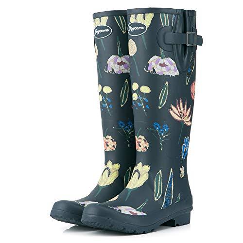JOYCORN Women's Wellies Rain Boots Ladies Original Quality Waterproof Rubber Knee-High (6, Navy-Printing)