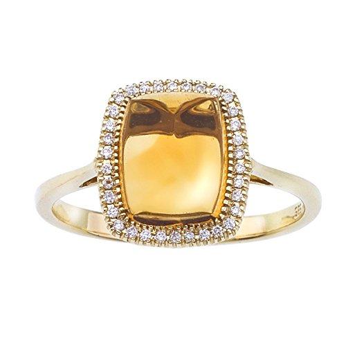 2.08 Carat ctw 14k Gold Cushion Orange Citrine Solitaire Diamond Halo Fashion Engagement Anniversary Ring - Yellow-gold, Size 7