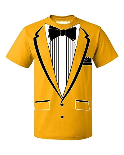 Promotion & Beyond Tuxedo (Black) with Pocket Square Ceremony Men's T-Shirt, 2XL, Gold -