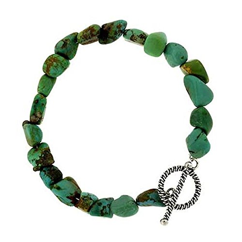 (Glitzs Jewels Sterling Silver Lab Simulated Green Turquoise Nugget Toggle Bracelet, 7'')