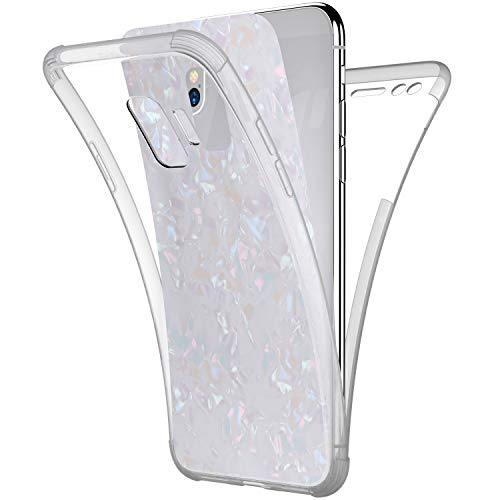 Price comparison product image Case for Galaxy S9, [Full-Body 360 Coverage Protective] Crystal Clear 2in1 Bling Glitter Shell Pattern Front Back Full Coverage Soft TPU Silicone Rubber Case Cover for Galaxy S9 Silicone Case, White