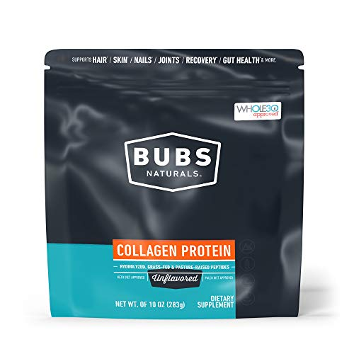 🥇 BUBS Naturals Pasture Raised Grass-Fed Collagen Peptides|Keto Friendly |Whole30 Approved|Paleo Friendly|Non – GMO|Dairy-Free Gluten-Free|Mixes Easy|Unflavored Collagen Powder