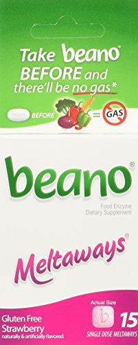 Right Foods Digestive Care (Beano Meltaways Strawberry Single Dose Tablets, Take Beano To Help Digest Gas Causing Foods-15 Meltaways Per Box-Packaging May Vary)