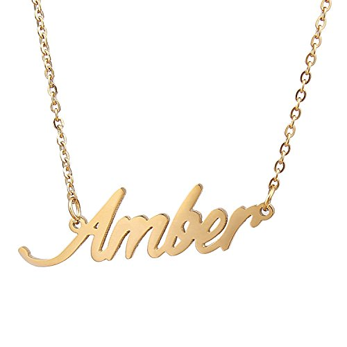 AOLO Gold Plated Personalized Necklaces with Names, ()