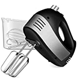 Hand Mixer Electric, Cusinaid 5-Speed Hand Mixer with Turbo Handheld Kitchen Mixer Includes Beaters, Dough Hooks and Storage Case, Black