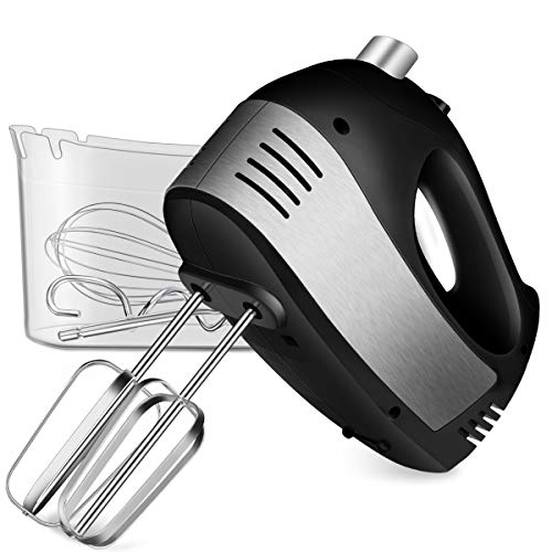 Hand Mixer Electric, Cusinaid 5-Speed Hand Mixer with Turbo Handheld Kitchen Mixer Includes Beaters, Dough Hooks and Storage Case (Black) (Mixers Hand For Kitchen)