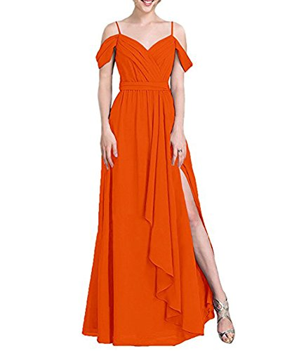 Bridesmaid Long Line BOwith Women's Shoulder Off The Orange Ruffled with Chiffon Dresses UZZq1w