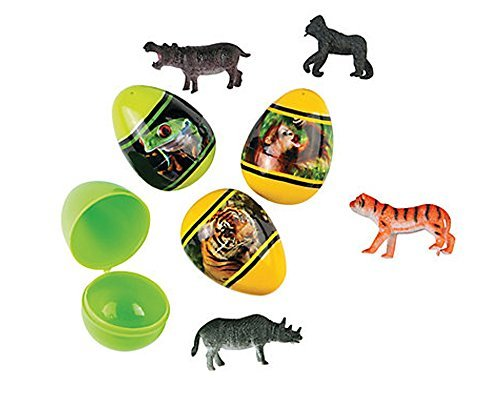 12 Ready Filled Animal Toy Plastic Easter ()