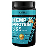 Best Hemp Protein Powder 369 (1 lbs) + Gingseng Vanilla Caramel NATERA Unique Patented Formula to Boost Absorption, Great for Athletes and Body Builders | Omega 3 and 6 Vegan Plant Based Protein