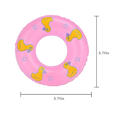 E-TING Mini Swim Ring Summer Fun Swimming Pool Float Raft Lilo Lifebuoy for Girl Dolls (10pcs Pink Swim Ring) : Baby