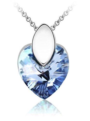 QUADIVA E! Damen Halskette Herzkette Kette mit Anhänger Herz (Farbe: weißgold/sky blue) verziert mit einem funkelnden Kristall in Herzform von Swarovski®