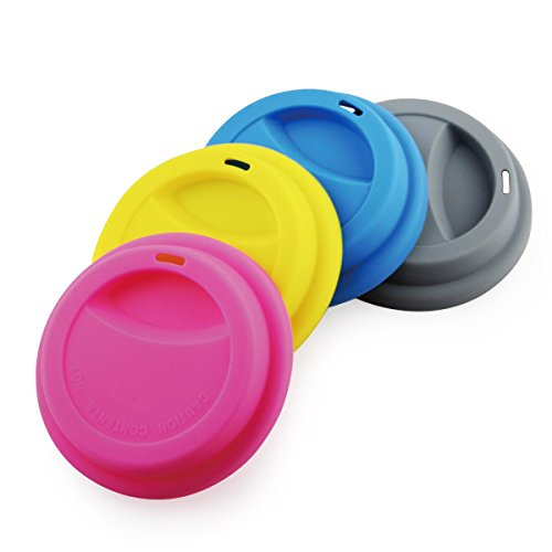 Dust Cup Lid (Yilove Silicone Coffee Mug Lids, Cup Cover BPA-FREE, Anti-dust, Spill Proof, 4 Pack)