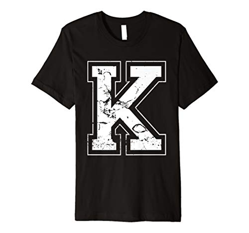 INITIAL LETTER K WHITE JERSEY SPORTS ATHLETIC PLAYER T-SHIRT -