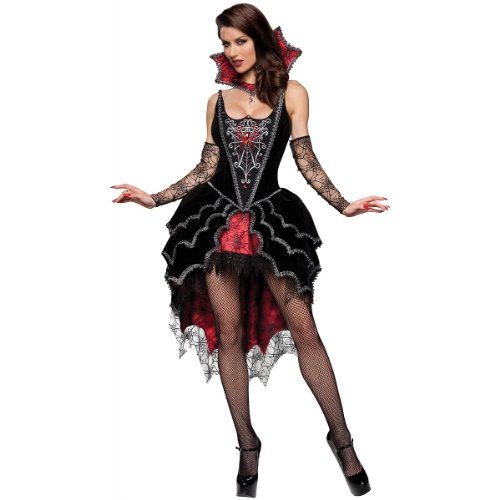 Dark Mistress Costumes (InCharacter Costumes Women's Webbed Mistress Costume, Black/Red, Small)