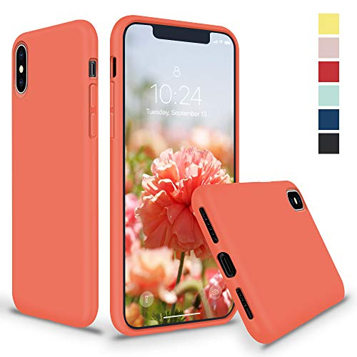 SURPHY Silicone Case for iPhone X iPhone Xs Case, Thicken Liquid Silicone Shockproof Protective Case Cover (Full Body Thick Case with Microfiber Lining) Compatible with iPhone X XS 5.8, Nectarine (Best Case For Iphone X)