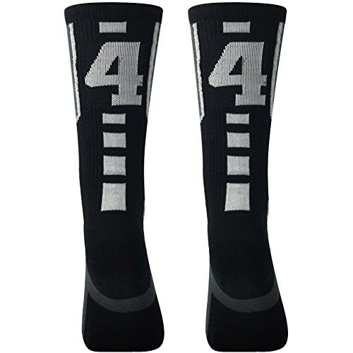 Team Number Socks for Men, Comifun Custom Id Baseball Football Nba Athletic Shoes Pattern Design Crew Socks,Black/White,Over 18 Ages,1 Pair,