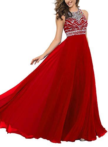 Pearldress Long Chiffon Beading Evening Dress Keyhole Back Prom Dress Red ()