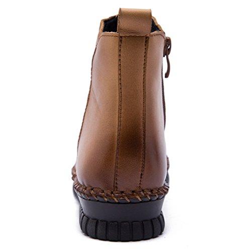 MatchLife Damen Vintage Leder Plissée Stiefel Kurze Boots Style2-Gelb Braun