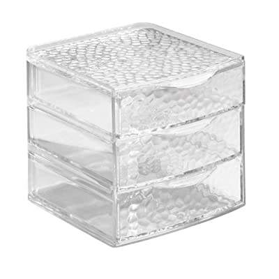 InterDesign Rain Vanity Cosmetic Makeup Jewelry 3 Drawer Box, Clear - 3 roomy drawers for cosmetics and accessories Handles for easy opening Sturdy feet - organizers, bathroom-accessories, bathroom - 41wJ06JVgqL. SS400  -