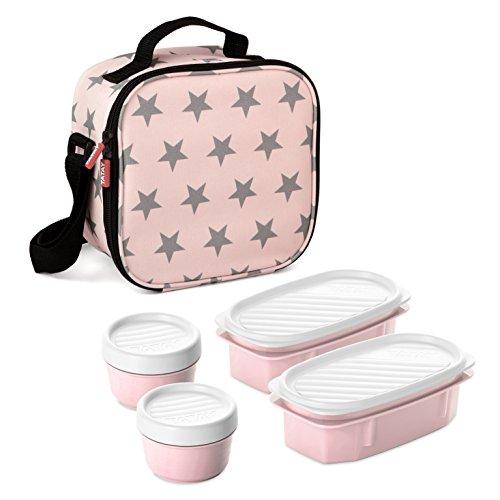 TATAY 1167506 Urban Food Casual - Bolsa termica porta alimentos con 4 tapers hermeticos incluidos, 3 litros de capacidad, Rosa palido, 22 5 x 10 x 22 cm