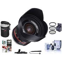Rokinon 12mm f/2.0 NCS CS Manual Focus Lens Sony E Mount Nex Series Mirrorless Cameras - Bundle With 67mm Filter Kit, Lens Case, Cleaning Kit, Capleash II, Lenspen Lens Cleaner, PC Software Package