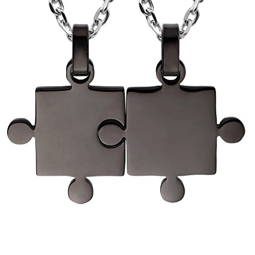 Kebaner Best Friends BFF Friendship Gifts His & Hers Puzzle Matching 2 Piece Couples Pendant Necklace Set