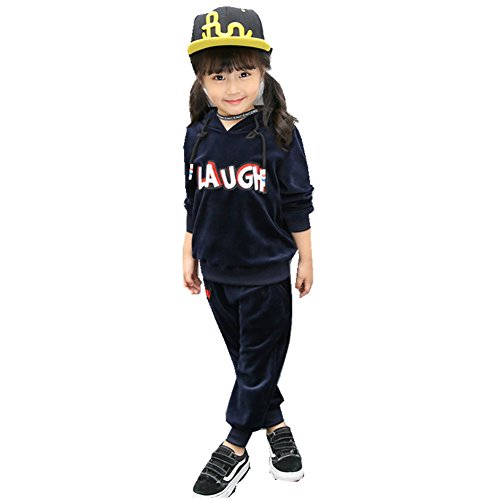 FTSUCQ Kids Fleeced Pullover Sports Tracksuits Outerwear Coat + Pants,Navyblue 130