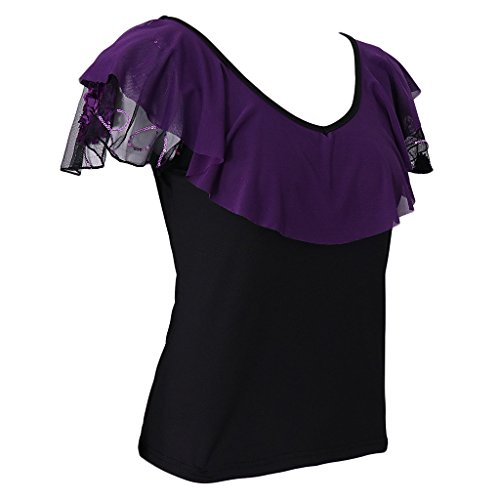 MagiDeal Damen Kurzarm-T-Shirt Tops Lose Beiläufiges Bluse Feifei Ärmel Tanz Bekleidung Lila fDULN7AcJc