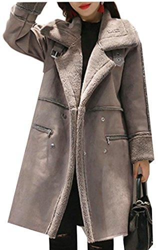 Gocgt Women's Slim Thick Faux Suede Fleece Jacket Coat Outwear 1