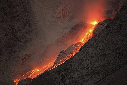 Posterazzi November 25 2012-Extrusion Lava Plug on top of Conduit Leads to Small Glowing rockfalls. Batu Tara Volcano Komba Island Indonesia Poster Print, (34 x 22)