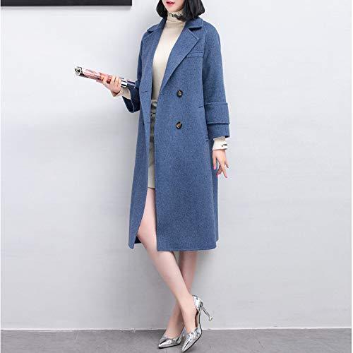 Lunghe Caldo Vioy Boucle Donna blu Autunno Ricamo Vintage Vento In Coat E Lana s Maniche Da Giacca A Inverno wBqPtBxS