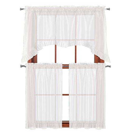- 3 PC Window Curtain Set: Pleated Ruffle, 1 Swag Valance, 2-36