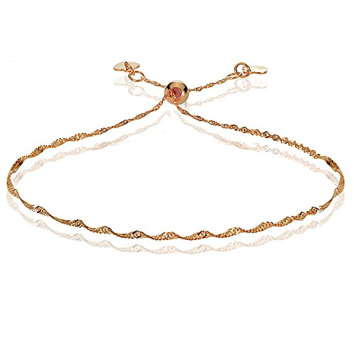 Bria Lou 14k Rose Gold 1.4mm Italian Singapore Adjustable Chain Bracelet, 7-9 Inches by Bria Lou