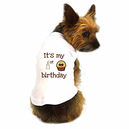 Speedy Pros Smiling Brown Cupcake It is My First Birthday T-Shirt Tank Top Tee Shirt Dogs M