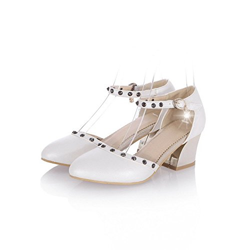 Toe White Sandals Solid Kitten Women's Buckle Heels AllhqFashion Closed Soft Pointed Material zPxXvn