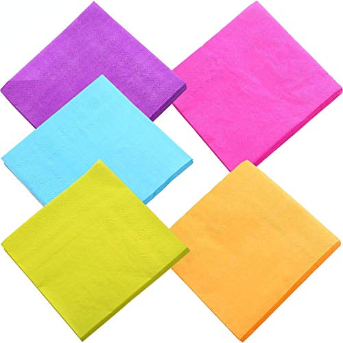 DuckMall Beverage Paper Colorful Napkins Cocktail Napkin 2 Ply For Kitchen, Parties, Weddings, Dinners or Events | Mixed Color (100-Count) -