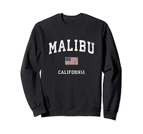 (Malibu California CA Vintage American Flag Sports Design Sweatshirt)